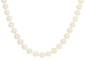 White Cultured Freshwater Pearl 9-10mm Rhodium Over Sterling Silver 18 Inch Strand Necklace