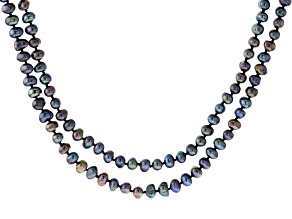 Black Cultured Freshwater Pearl 100 Inch Endless Strand Necklace