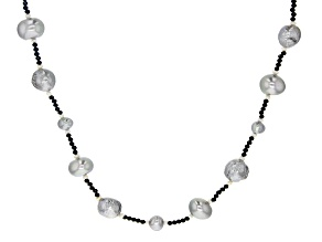 2-11mm Cultured Silver & White Freshwater Pearl & Black Spinel 36 Inch Endless Necklace