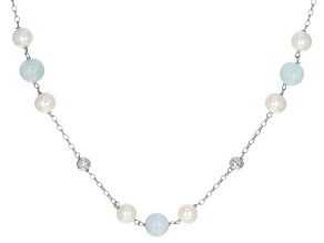 White Cultured Freshwater Pearl & Aquamarine Rhodium Over Sterling Silver 24 Inch Station Necklace