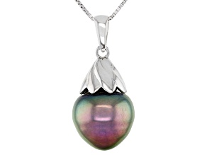 Cultured Tahitian Pearl 10-11mm Rhodium Over Sterling Silver Pendant With Chain