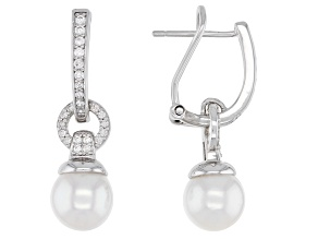 White Cultured Japanese Akoya Pearl & White Zircon 0.42ctw Rhodium Over Sterling Silver Earrings