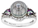 Cultured Tahitian Pearl, Mystic Topaz 0.89ctw, & White Zircon 0.63ctw Rhodium Over Silver Ring