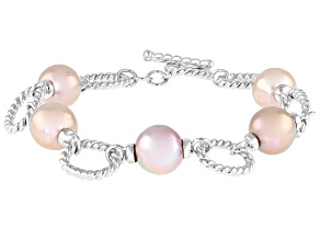 Lavender Cultured Kasumiga Pearl 10-11mm Rhodium Over Sterling Silver 8 Inch Bracelet