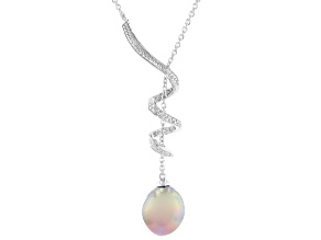 Lavender Cultured Kasumiga Pearl 11-12mm Rhodium Over Sterling Silver 18 Inch Necklace