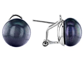 Black Cultured Freshwater Pearl 11-12mm Rhodium Over Silver Omega Earrings
