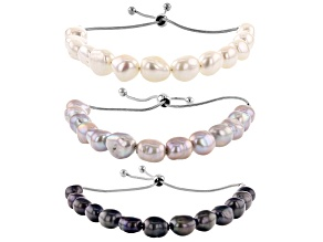 Cultured Freshwater Pearl Stainless Steel Adjustable Bracelet Set of 3