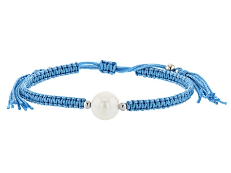 White Cultured Freshwater Pearl Rhodium Over Sterling Silver Adjustable Cord Bracelet Set of 3