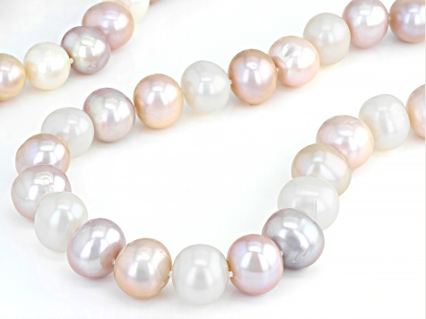 Multi-Color Freshwater Pearl 10-11mm Rhodium Over Sterling Silver 32 Inch Strand Necklace