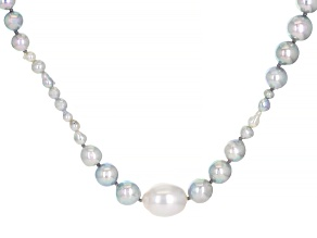 Multi-Color Cultured Japanese Akoya & Cultured South Sea Pearl Rhodium Over Silver Necklace