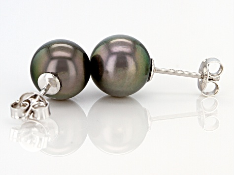 Cultured Tahitian Pearl 10mm Rhodium Over Sterling Silver Stud Earrings
