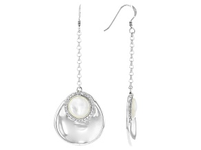 White Mother-of-Pearl & White Topaz 0.23ctw Rhodium Over Sterling Silver Dangle Earrings