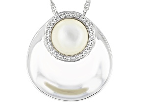 White Mother-of-Pearl & White Topaz Rhodium Over Sterling Silver Pendant With Chain