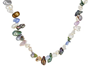 Multi-Color Cultured Keshi Freshwater Pearl 47 Inch Endless Necklace