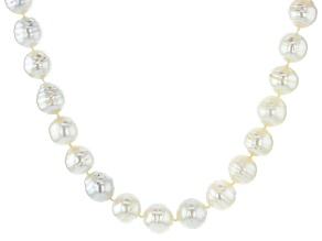 White Cultured South Sea Pearl Rhodium Over Sterling Silver 18 Inch Strand Necklace