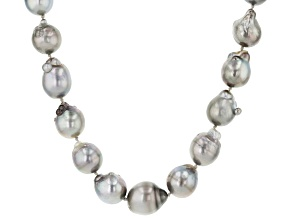 Cultured Tahitian Pearl 15-17mm Rhodium Over Sterling Silver 18 Inch Strand Necklace