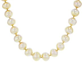 Golden Cultured South Sea Pearl Rhodium Over Sterling Silver 18 Inch Strand Necklace