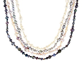 Multi-Color Cultured Freshwater Pearl 36 Inch Endless Strand Necklace Set of 4