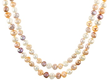 Picture of Multi-Color Cultured Freshwater Pearl 64 Inch Endless Strand Necklace Set of 2