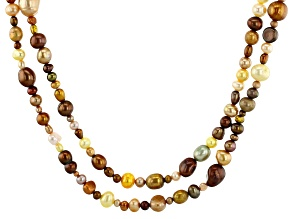 Multi-Color Cultured Freshwater Pearl 62 Inch Endless Strand Necklace Set of 2