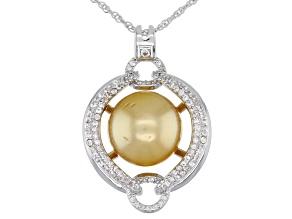 Golden Cultured South Sea Pearl & White Zircon Rhodium Over Sterling Silver Pendant With Chain