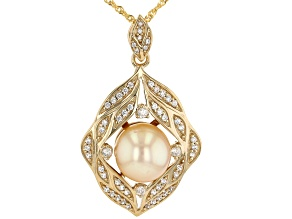 Golden Cultured South Sea Pearl & White Zircon 18k Yellow Gold Over Sterling Silver Pendant