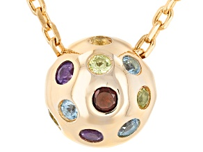 Multigem 18k Yellow Gold Over Sterling Silver Necklace
