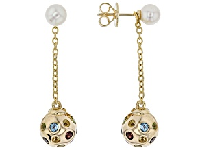 6-6.5mm Cultured Freshwater Pearl And Multigem 18k Yellow Gold Over Sterling Silver Earrings