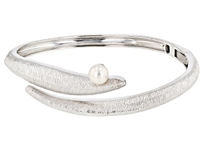 6.5-7mm Cultured Freshwater Pearl Rhodium Over Sterling Silver Bangle Bracelet