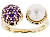 Cultured Freshwater Pearl And Amethyst 18k Yellow Gold Over Silver Ring