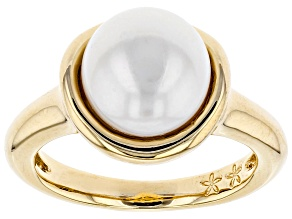 9.5-10mm Cultured Freshwater Pearl 18k Yellow Gold Over Sterling Silver Ring