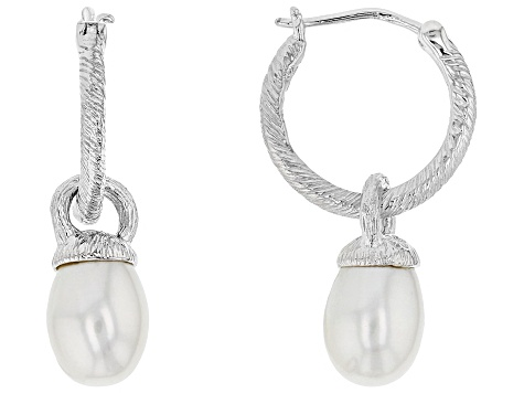 7-7.5mm Cultured Freshwater Pearl Rhodium Over Sterling Silver Earrings