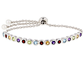 4.5-5mm Cultured Freshwater Pearl And Multgem Rhodium Over Sterling Silver Bracelet