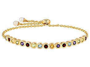 4.5-5mm Cultured Freshwater Pearl And Multigem 18k Yellow Gold Over Sterling Silver Bracelet