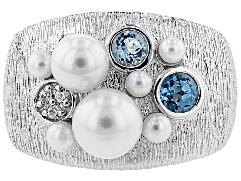 2.5-7mm Cultured Freshwater Pearl, Blue Topaz And White Zircon Rhodium Over Sterling Silver Ring