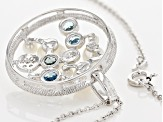 2.5-8mm cultured Freshwater Pearl, Blue Topaz And White Zircon Sterling Silver Pendant With Chain