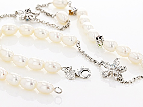 7-7.5mm Cultured Freshwater Pearl And Multigem Sterling Silver Necklace