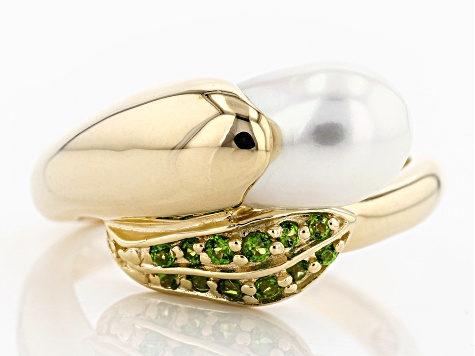7-7.5mm Cultured Freshwater Pearl And Chrome Diopisde 18k Yellow Gold Over Sterling Silver Ring