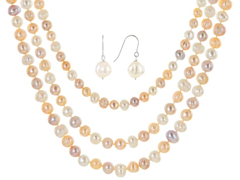 White, Pink Lavender Cultured Freshwater Pearl Silver Necklace Earring Set