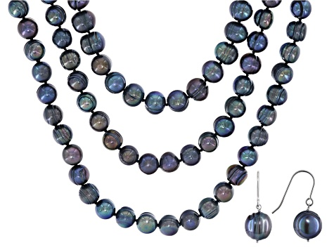 10-12mm Black Cultured Freshwater Pearl Sterling Silver 18, 24, 36 Inch Necklace & Earring Set