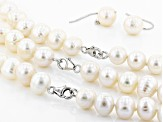 10-12mm White Cultured Freshwater Pearl Sterling Silver 18, 24, 36 inch Necklace & Earring Set