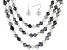 Dark Multi-Color Cultured Freshwater Pearl Sterling Silver 18, 24, 36 inch Necklace & Earring Set