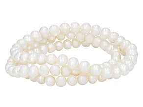White Cultured Freshwater Pearl Stretch Bracelet Set Of Three 6-7mm