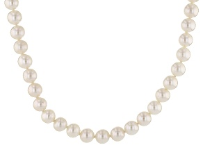 White Cultured Freshwater Pearl 10k Yellow Gold Strand Necklace 8-9mm
