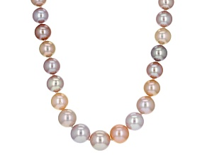 Cultured Freshwater Pearl Rhodium Over Silver Necklace 6.5-10mm