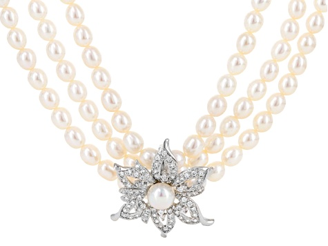 33dabd7f3548fd Cultured Freshwater Pearl With Cubic Zirconia Rhodium Over Silver Necklace  - DOCS944 | JTV.com