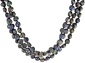 Cultured Freshwater Pearl Rhodium Over Silver 3 Row Strand Necklace 16 inch