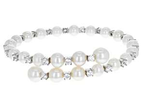 Cultured Freshwater Pearls, Cubic Zirconia Rhodium Over Silver Bracelet