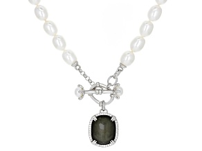 Cultured Freshwater Pearl, Topaz, And Pyrite Doublet rhodium over silver Necklace 18 inch