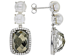 6.5-7mm White Cultured Freshwater Pearl With Topaz & Pyrite Doublet Rhodium over Silver Earrings